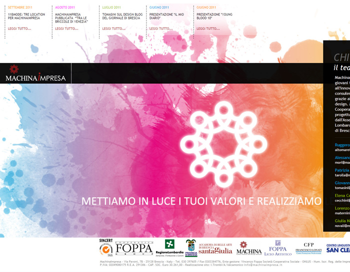 Cliente: Machina Impresa <br /> Design: I.Trombi <br /> <a href='http://www.machinaimpresa.it'>www.machinaimpresa.it</a>